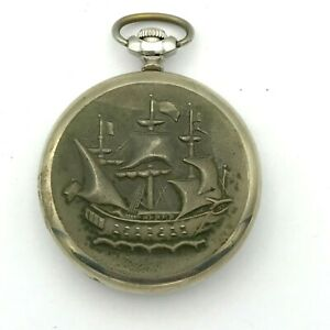 Russian MOLNIJA Ship Cupronickel Vintage Pocket Watch Mechanical 12 24 Hour 3602
