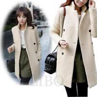 women double breasted long dust trench coat wool blend outwear jacket Chic**