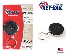 """Key-Bak Retractable Key Reel Black Standard Duty 24"""" Stainless Steel Chain"""