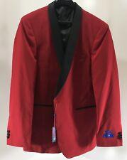 Egara Men's Satin Lapel Single Button Dinner Jacket W Piped Trim Red 44L NWT @