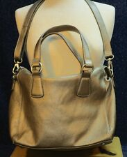 Boden Gold Leather Convertible Satchel Crossbody Purse
