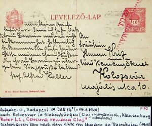 HUNGARY 1914 10f ST. STEPHEN'S CROWN CENSOR POSTAL CARD FROM BUDAPEST TO ROMANIA