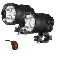 2x 40W Motorcycle LED Headlight Spot Light Fog Driving Lamp Light with Switch A