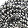 "Silver Hematite Round Beads Gemstone 15"" Strand 2mm 3mm 4mm 6mm 8mm 10mm 12mm"