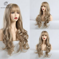 Long Wavy Hair Wigs with Bangs Natural Brown Blonde Wave Synthetic Wig for Women