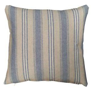 "Nautical Striped Preppy Cushion. 17x17"". Mineral Blue & Linen, Deckchair Style."