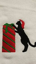 Hand Towel Christmas Cat with Fringed Ends