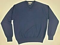 Peter Millar Mens Golf Sweater M Navy Blue Wool V Neck Long Sleeve Pullover