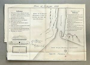 Original Antique Mid-19th c. Map PLAN OF OSWEGO 1727 Early New York Trading Post