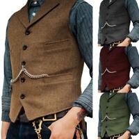 Mens Tweed Waistcoat Vest Wool Blend Herringbone Notch Lapel Silm Fit M-3XL