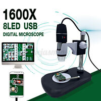 1600X 8 LED Zoom USB Digital Microscope Magnifier Endoscope Camera +Video O