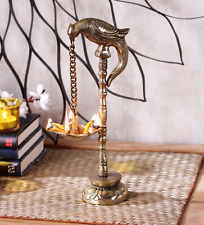 Brass Oil Wick lamp Parrot Hanging Diya Hindu Puja Burner Table top Home Decor