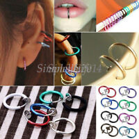 10×Fake Clip On Spring Nose Hoop Ring Ear Septum Lip Eyebrow Earrings Piercing