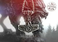 """Viking """"Allfather"""" Mjolnir Hammer Pendant with Triskelion and 24 Inch Chain"""