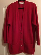 Valerie Stevens Luxury Yarns Lambs wool & Angora Red Cardigan Size L