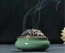 1pc  Longquan Celadon Porcelain Handmade Incense Burner Buddhist Supplies