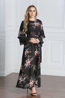 Vintage Women Muslim Floral Long Dress Islamic Abaya Cocktail Party Gown Maxi