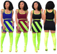 New Women Scoop Neck Sleeveless Crop Top Patchwork Bodycon Sport Mini Dress 2pc