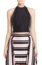 NWT $245 Halston Heritage High Neck Fitted Faille Crop Top Black [SZ 4] #R331