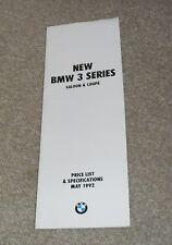 BMW SERIE 3 E36 guida prezzo 1992 BERLINA & COUPE 316i 318i 318iS 320i 325i