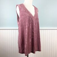 New W/Defect Size 1X INC Dusty Pink Crushed Velvet Tank Top Shirt Blouse Plus