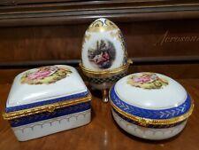 Vecceli Italy Vintage Porcelain boxes and Egg Trinket Renaissance. Set of 3
