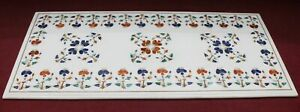 marble top coffee table, dining coffee center inlay carnelian lapis floral desig