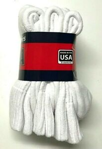 3 Pair Premium Heavy weight Work Cushioned To Top White Crew Sock Size 9-11.USA