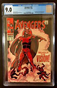 Avengers #57 CGC 9.0 ow/w. 1st SA App Vision. Black Widow & Ultron App.
