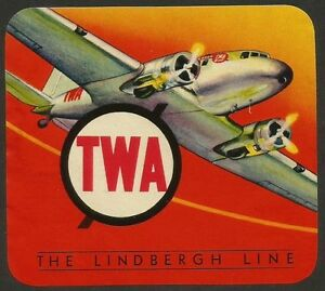 TWA THE LINDBERGH LINE vintage luggage label