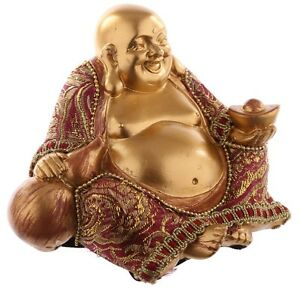 Buddha Figur Gold mit Stoff statue buddafigur feng shui buddhismus großer budda