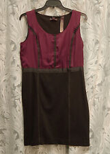 DANA BUCHMAN VINTAGE RUBY SATIN BLACK KNIT SLEEVELESS SHEATH DRESS~10~M~L~NEW