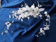 White Roses/Pearl flower Sprays  Bridal Flower Headdress Comb  - by Valerie J