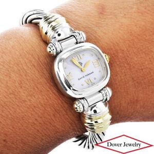 David Yurman 14K Gold Sterling Silver Cable Bracelet Watch $2,000.00 44.6 Gr NR