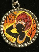 "African Woman Maasai Charm Tibetan Silver with 18/"" Necklace BIN"