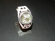 Hello Kitty Heart and Kitty face watch pink silver tone clear crystal face NEW