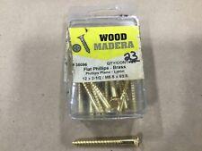 Box Of 23 Brass Flat Phillips Wood Screws 12 X 2 1/2 Screw M5.5 X 63.5 #39A28