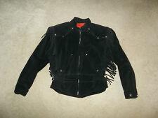 Harley Davidson black suede leather fringe Western Biker jacket womens MEDIUM