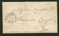 Stafford NY 1839 Stampless Cover, Black Oval Cancel, Genesee County