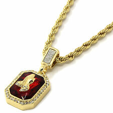 Mens 14k Yellow Gold Plated 24in Red Ruby Praying Hands Hip Hop Rope Chain 4MM