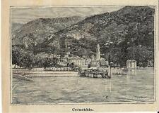 Stampa antica CERNOBBIO vista dal lago LAGO di COMO 1888 Old antique print