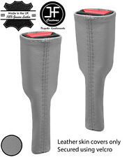GREY REAL LEATHER 2X SEAT BELT STALK LONG COVERS FITS CORVETTE C5 1997-2004