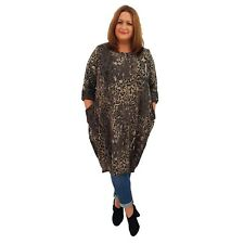 Wolfairy Womens Plus Size Dress Leopard Panther Lagenlook Baggy Long Sleeve