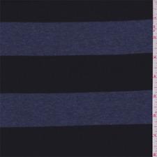 Black/Denim Blue Stripe Rayon Jersey Knit, Fabric By The Yard