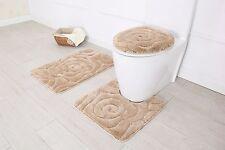 Hotel Collection 3 Piece Premium Prestige Bath rug set 100% Polyester (Beige)