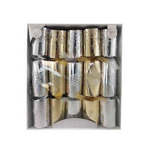 Deluxe Crackers de Navidad Familia 10 Paquete Plata Oro Conjunto Mesa