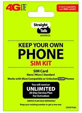 Straight Talk Bring Your Own Phone SIM Card Kit for AT&T or Unlocked GSM 4G LTE