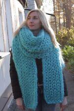 5 strands Premium Mohair EXTRA LONG SCARF hand knit blue аzure  Men Women