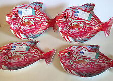 """MELAMINE PINK TROPICAL FISH PLATES.  Set of 4.  8"""" tall x11 1/2"""" long."""