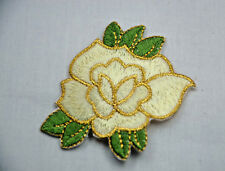 IVORY WHITE + GOLD WEDDING ROSE 7cm Embroidered Sew Iron On Cloth Patch APPLIQUE